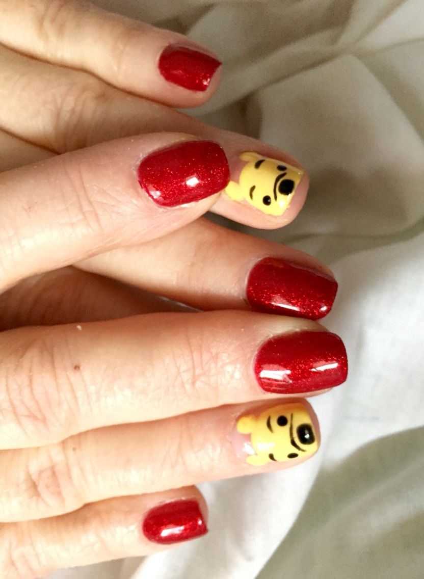 Winnie The Pooh Nail Art The Little Pooh Bear Faces Are So