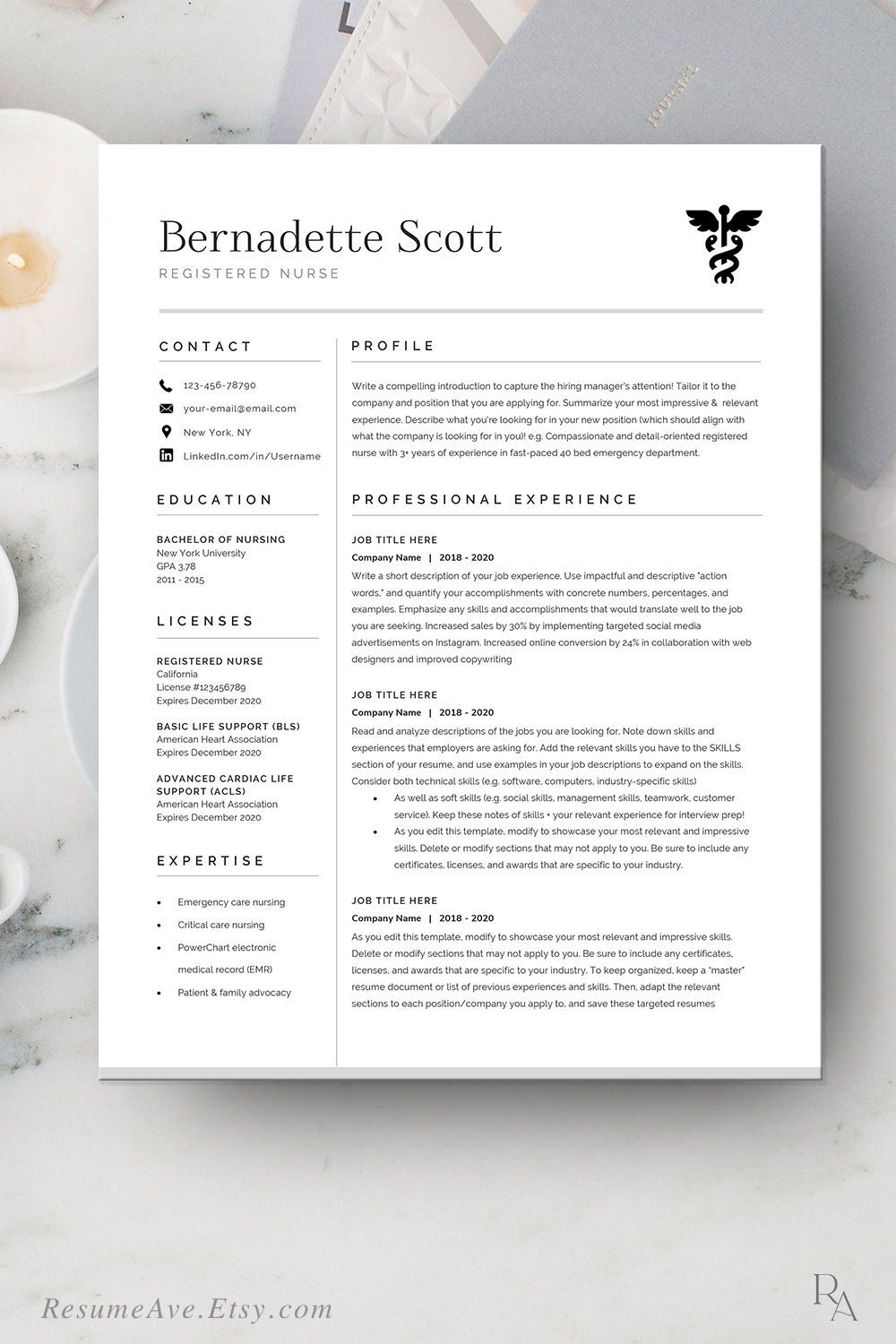 Modern Nurse Resume Template Cv Template For Digital Etsy In 2020 Nursing Resume Template Resume Template Word Teacher Resume Template