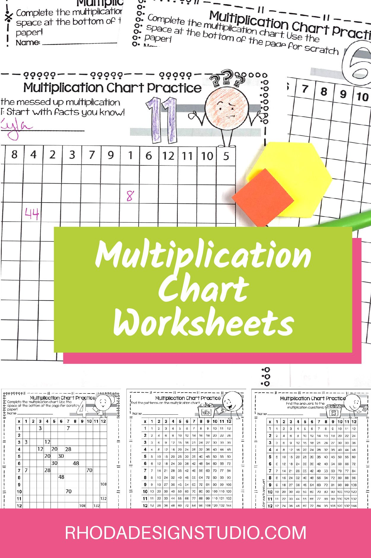Multiplication Chart Worksheets Differentiated For