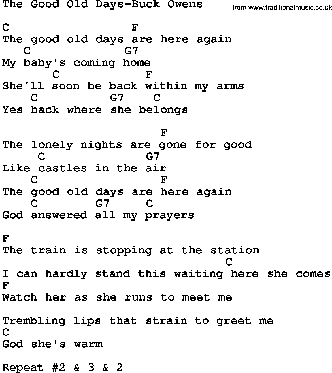 Country Music Song: The Good Old