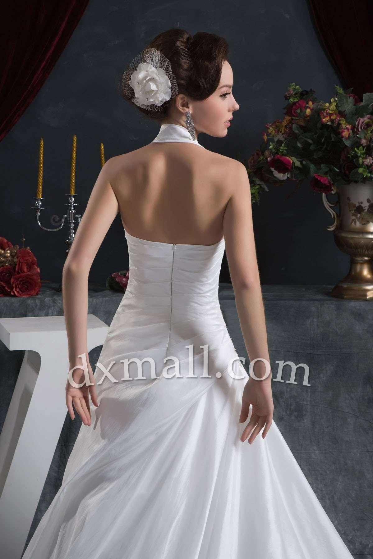 Dropped waist wedding dress  Drop Waist Wedding Dresses Halter Court Train Taffeta Satin Ivory