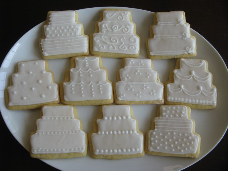 Wedding Cake Cookies On Plate