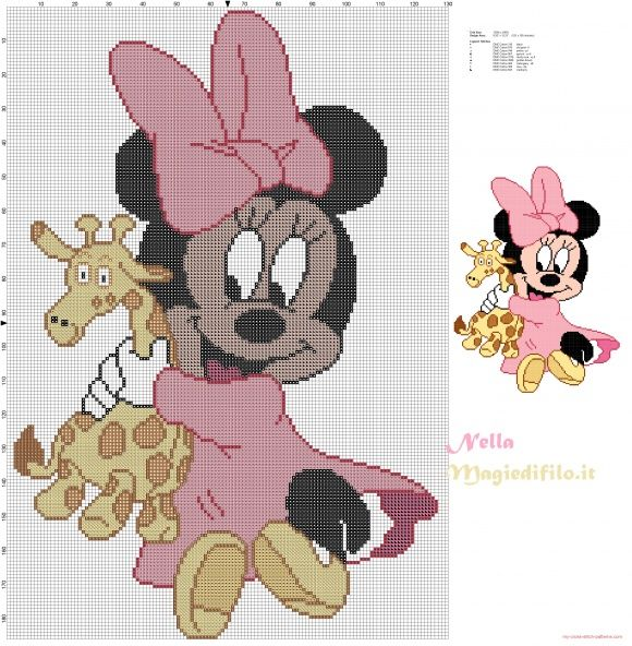Baby Minnie Mouse with giraffe | Disney babies cross stitching ...