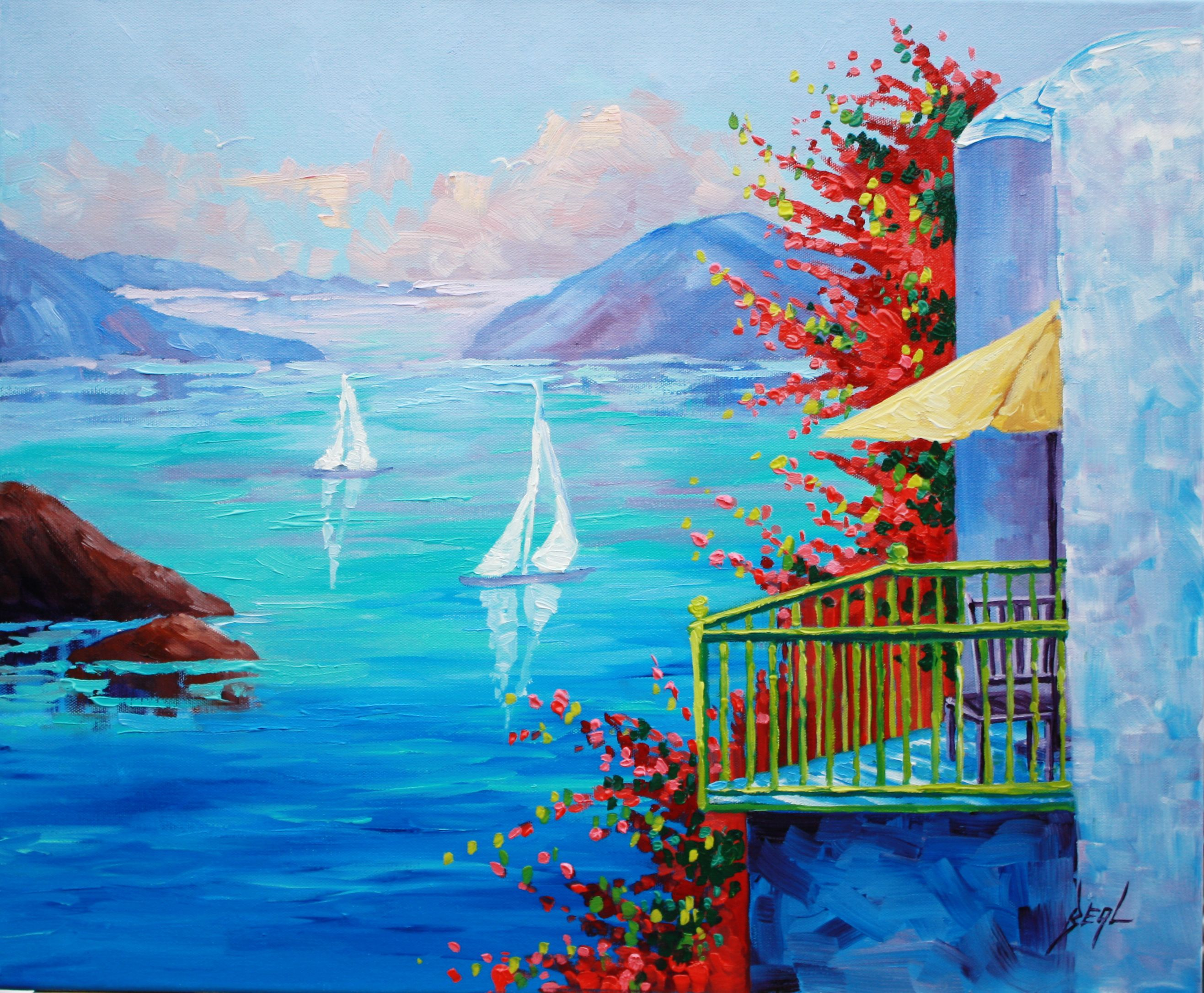 Greek Summer  Rebecca Beal 20x24  Mediterranean seascape Oil Painting with balcony looking over the sea. Umbrella and lots of beautiful flowers. Cool ocean blue with greens and rose.
