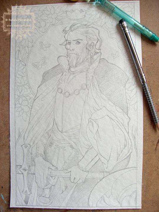 #WIP #KingOfSwords #NataliaPierandrei #78Tarot #SeventyEightTarot #Man #King #Beard #Swords #Beautiful #Handsome #Details #Sketch #Intricate #Linework #drawing #art #artwork #tarot #card #deck #TarotCard https://www.facebook.com/natiart?fref=ts
