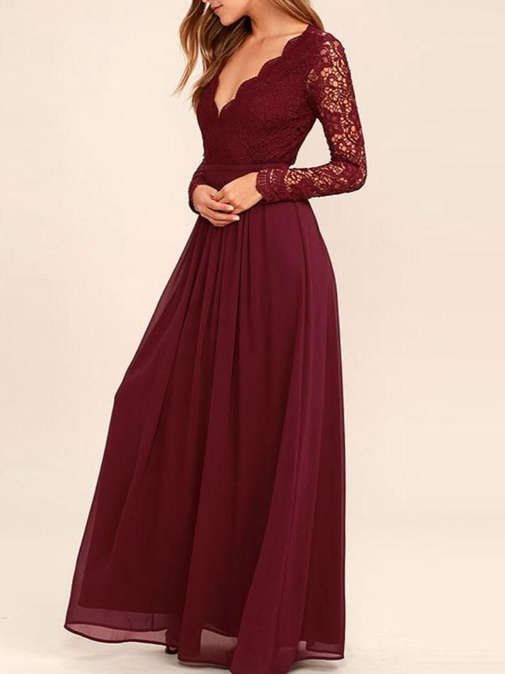 Red Lace Bridesmaid Dresses | Cheap Dark Red Long Sleeve Lace Custom Long Bridesmaid Gowns Bd0250