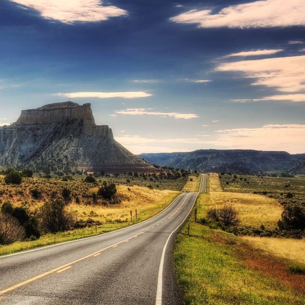 Desert Road Mountains iPad Wallpaper HD Beautiful