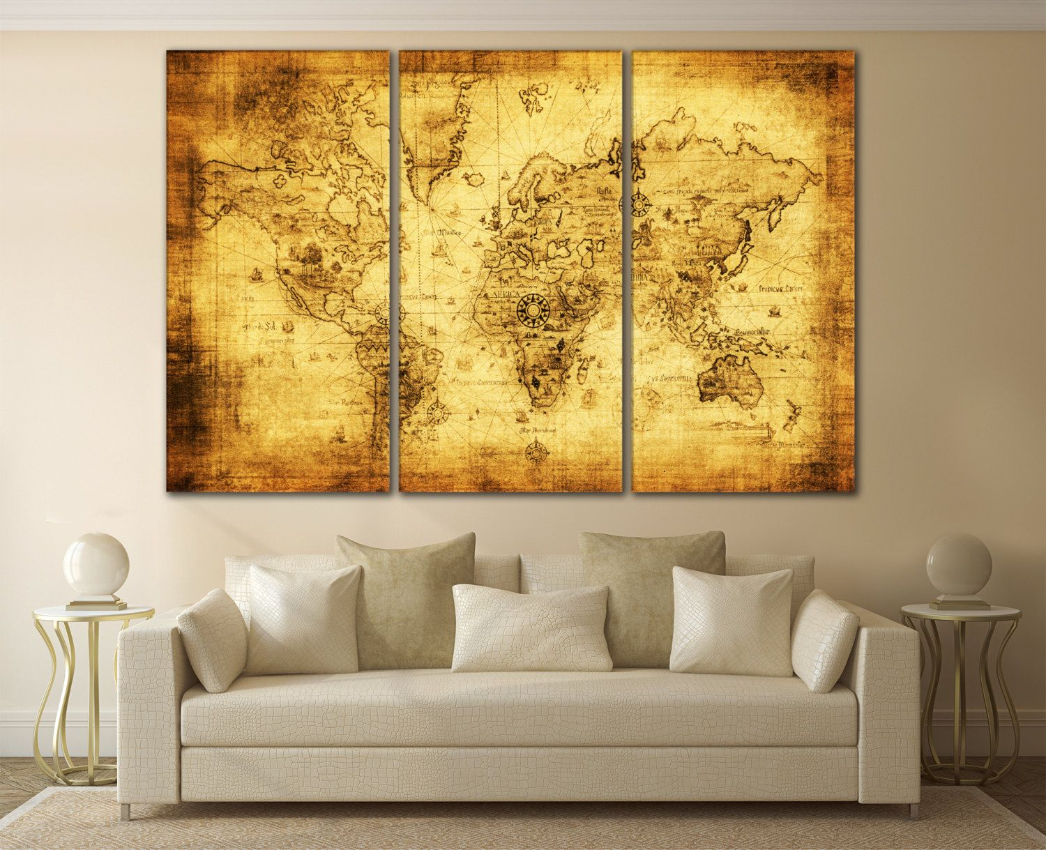Large Wall Art World Map Canvas Print / Large World Map Wall Art ...