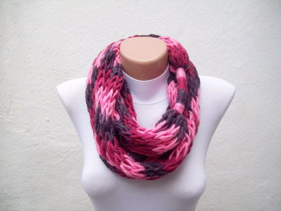 Knitting Loop Scarf : Finger knitting scarf pink purple burgundy multicolor necklace