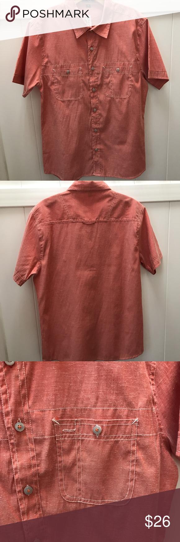 Men's Coral shirt Men's Coral Short sleeve button up. 100% Cotton Shirts Casual Button Down Shirts