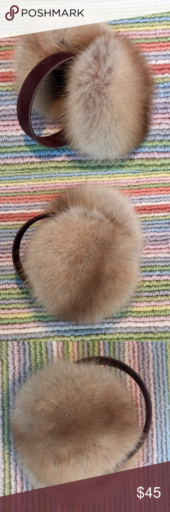 MINK FUR EARMUFFS REAL FURR EAR MUFF Cute and warm earmuffs.  Real mink fur.  No label. Has been removed. Accessories Hats