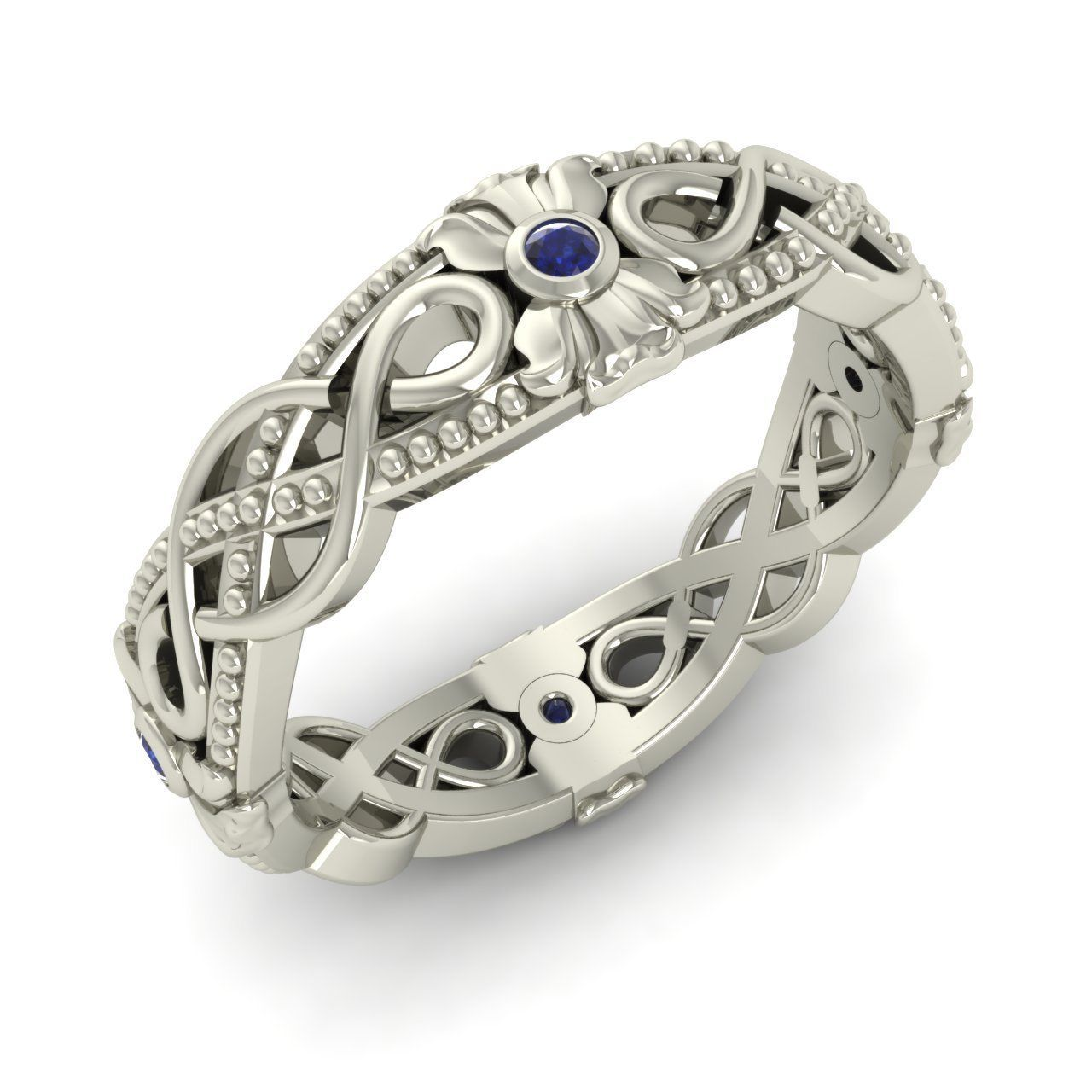 Certified Blue Shire Art Deco Look Filigree Wedding Band Ring 14k White Gold