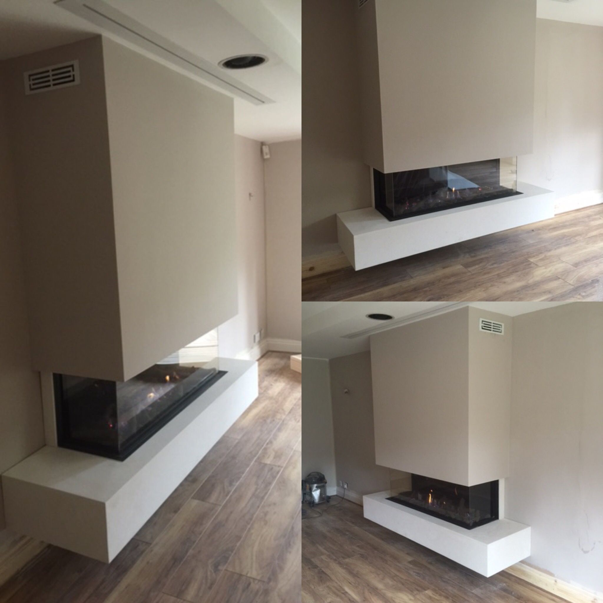 stunning triple aspect balanced flue log effect gas fireplace with