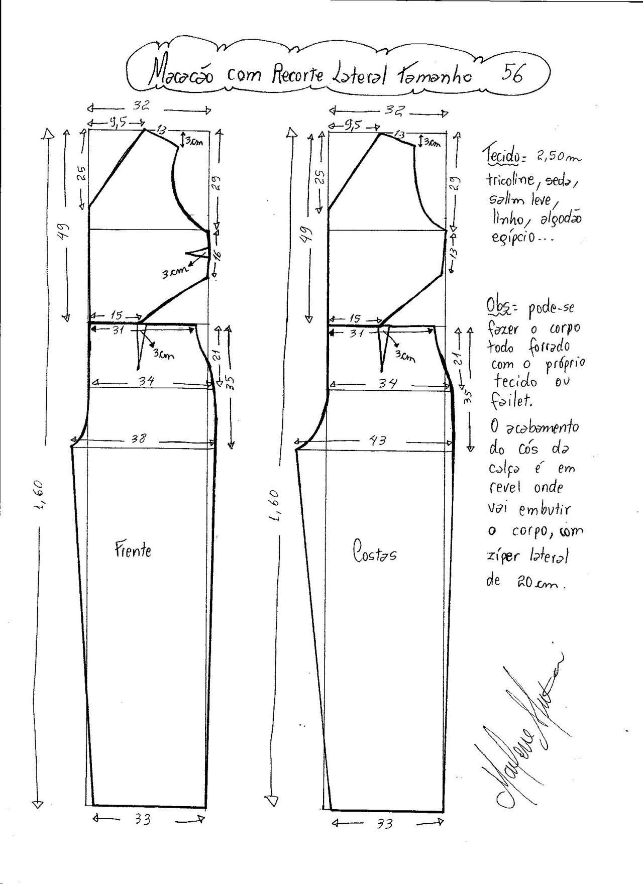 Patrón de Mono largo con abertura lateral | Patrones Alta costura ...