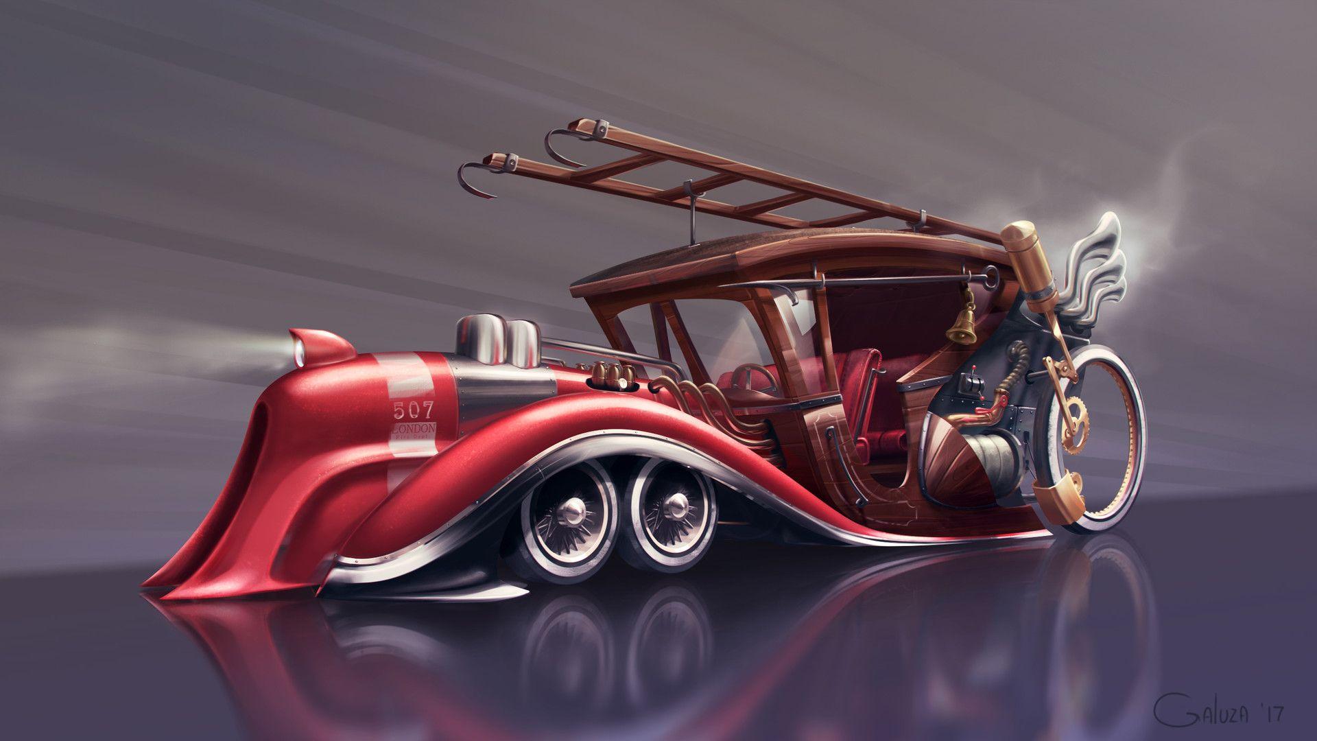 Artstation Steampunk Firefighter Car Vadim Galuza Pompier