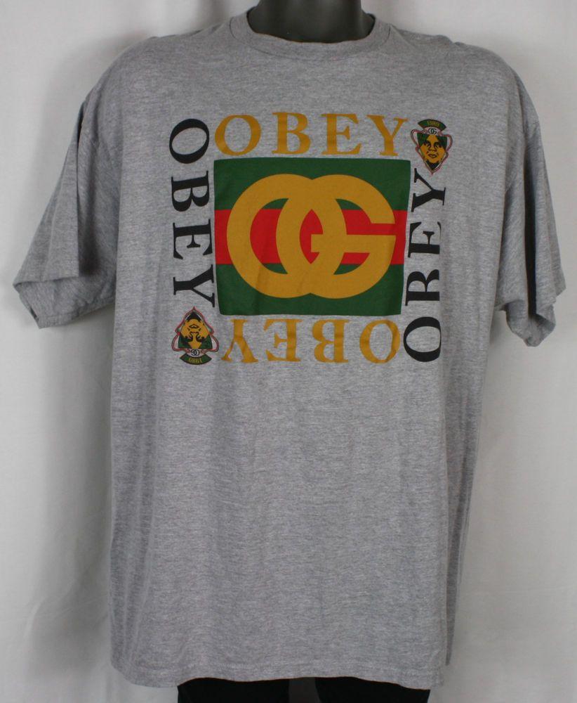 fe38ed9b08d78 Rare Obey OG Gucci Bootleg Print Heather Grey T-Shirt XXL giant shepard  fairey  fashion  clothing  shoes  accessories  mensclothing  shirts (ebay  link)