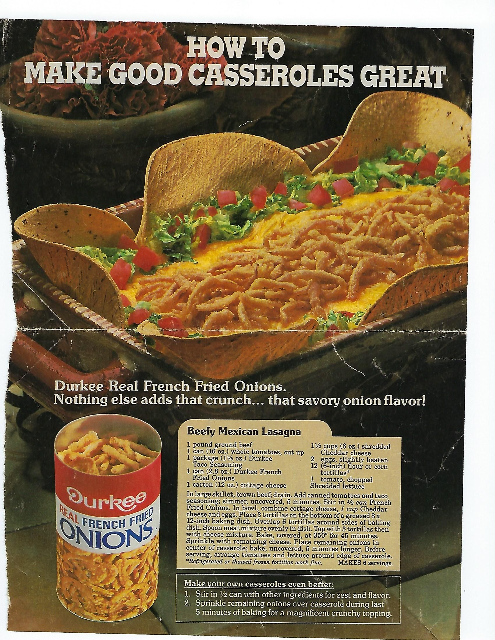Durkee Beefy Mexican Lasagna Onion Recipes Best Casseroles French Fried Onions
