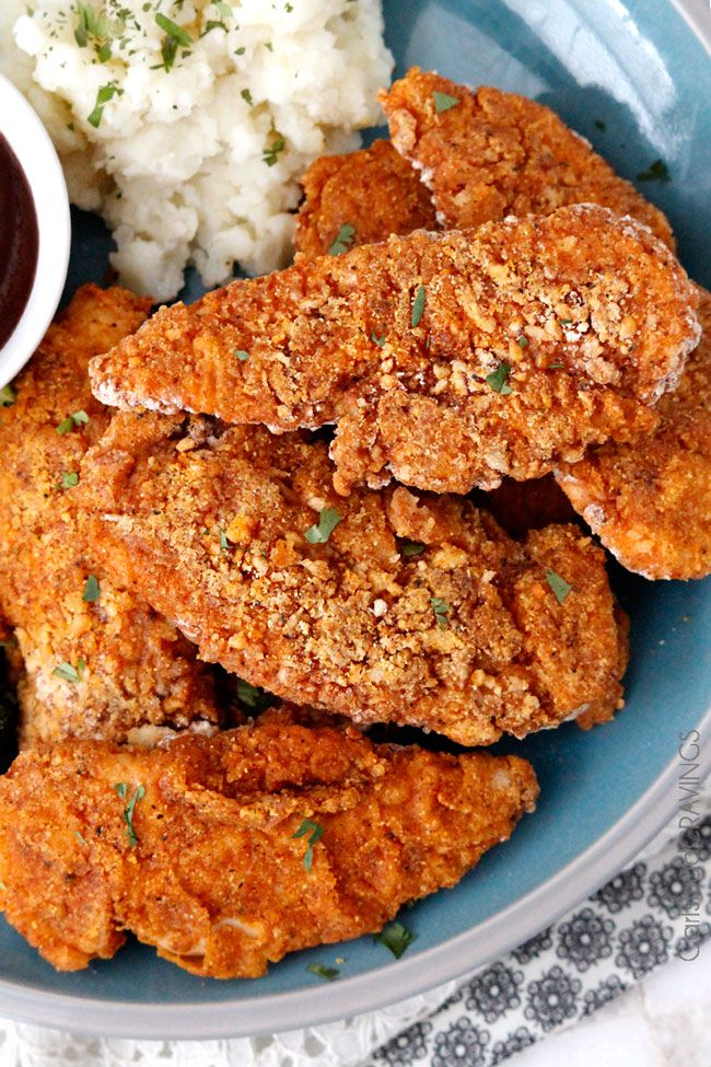Crispy Chicken Marinated In Spiced Buttermilk Then Breaded