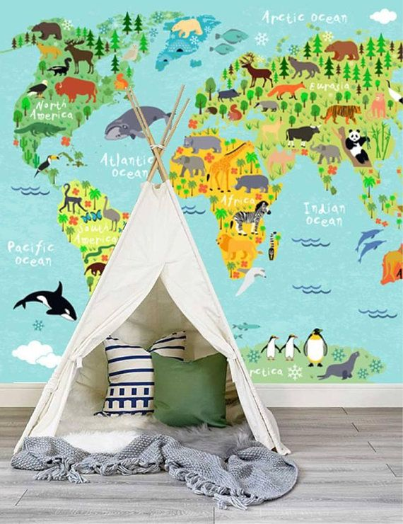 Wallpaper world map children wallpaper nursery mural wall art world map children wallpaper nursery mural wall art decor removable self adhesive peel and stick wallpaper wall mural gumiabroncs Images