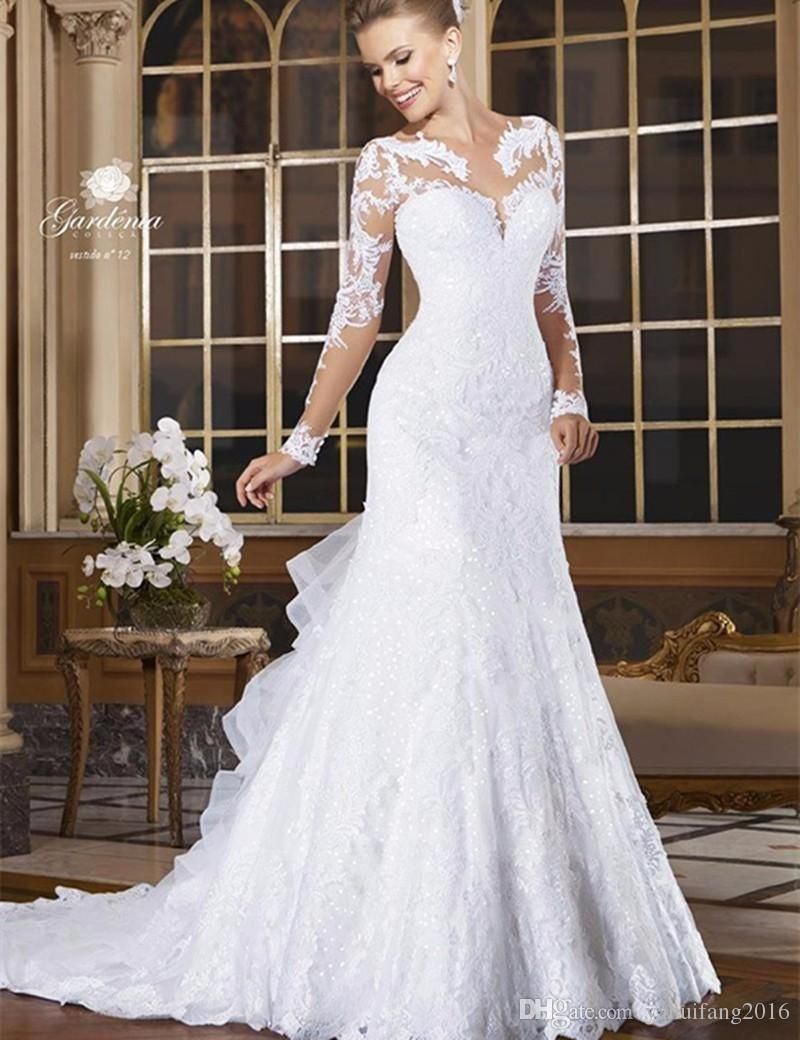 5a0c4ae710 Modest Long Sleeves Wedding Dresses Mermaid Popular Vintage Wedding Dress  Lace Wedding Gowns Buy Plus Size Bridal Gowns With Long Wedding Dress  Designs ...