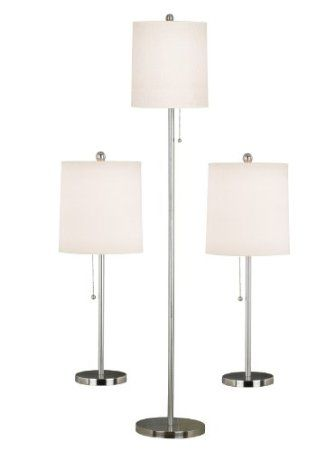 Amazon Com Kenroy Home 21016bs Selma Table And Floor Lamp 3 Pack Brushed Steel Home Improvement Lamp Sets Lamp Kenroy Home