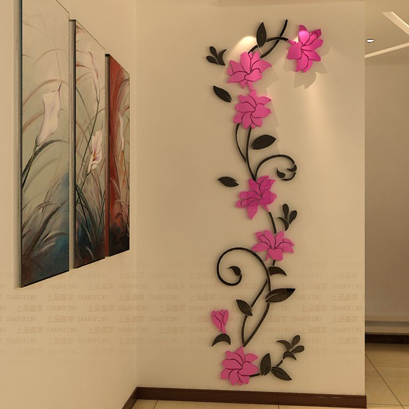 DIY Flowers Wall Stickers Acrylic Stickers Home Decoration ...