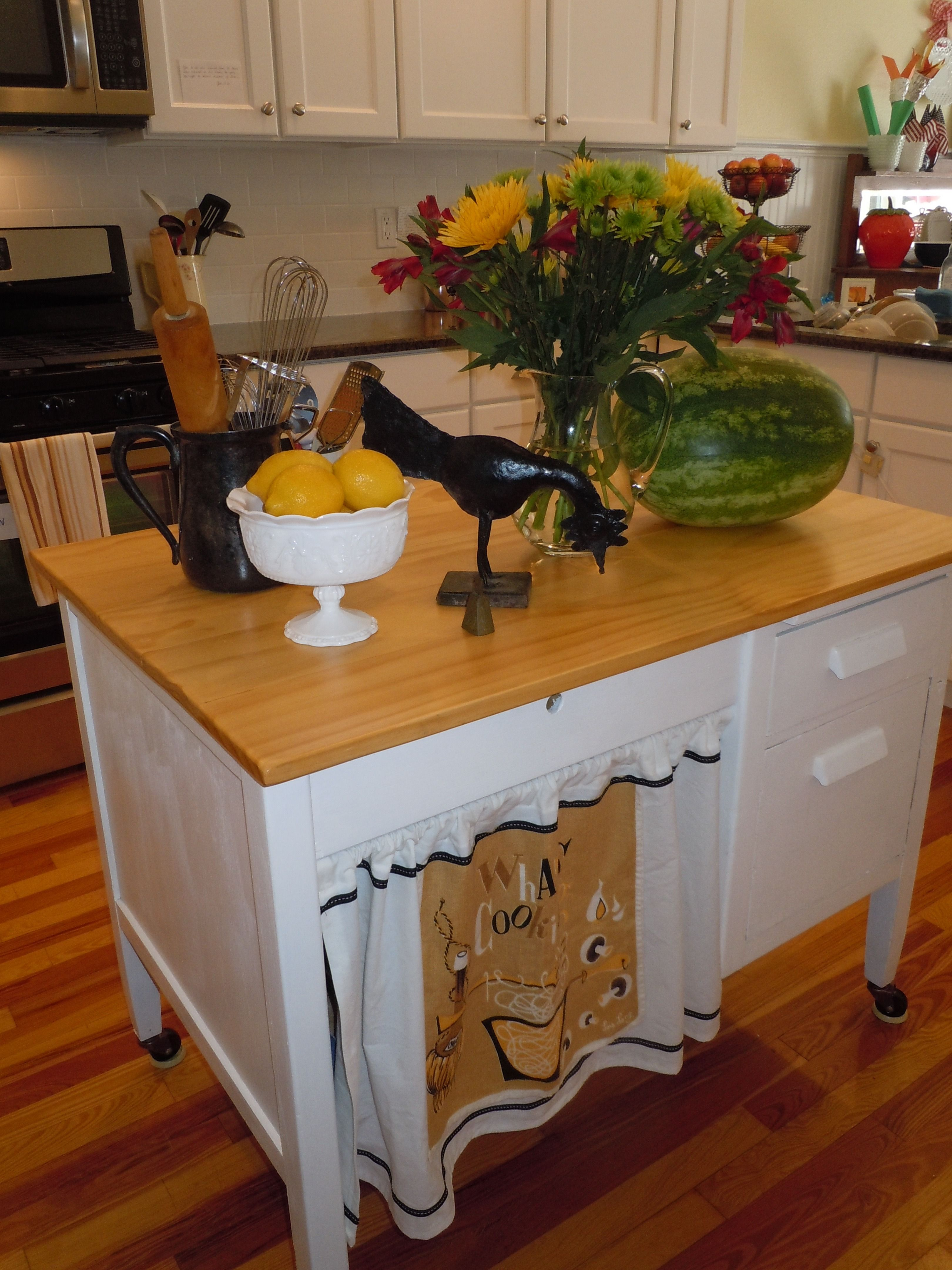 Repurposed Kitchen Island Repurpose An Old Student Desk Into A Kitchen Island For The