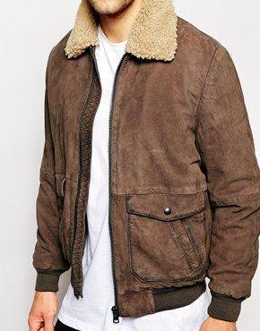 58875e0a2 Wrangler Leather Bomber Jacket Sherpa Collar | mens | Bomber jacket ...