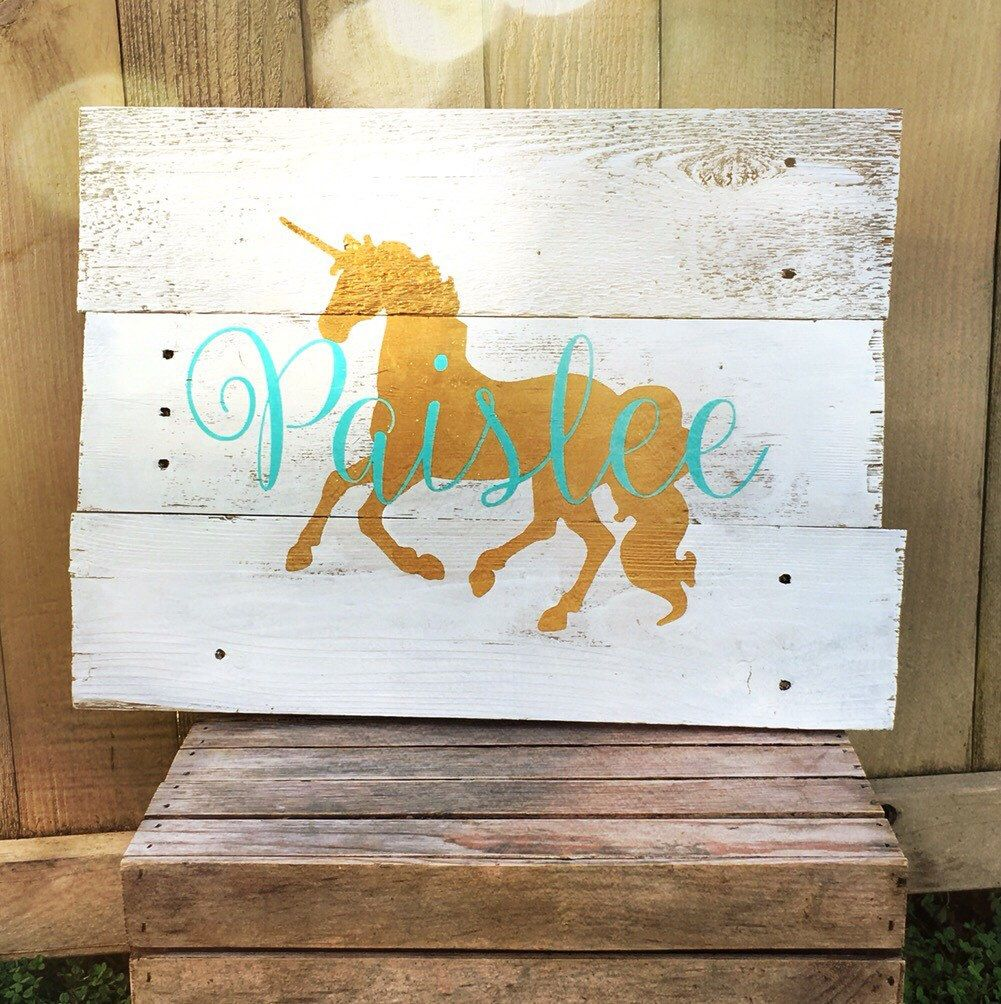 Rustic large personalized unicorn name reclaimed pallet for Signs for little girl rooms