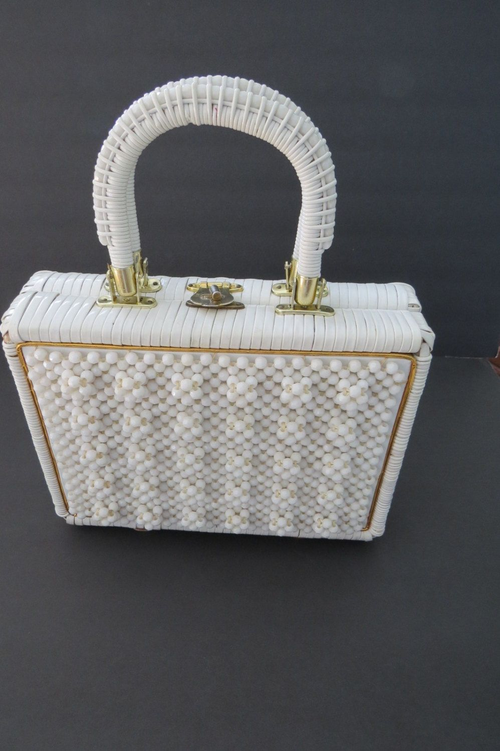 Vintage white beaded wicker handbag 1950s rattan purse made in vintage handbag purse white beaded vinyl wicker made in hong kong summer fashions vogue gift mothers day by shabbyshopgirls on etsy negle Image collections