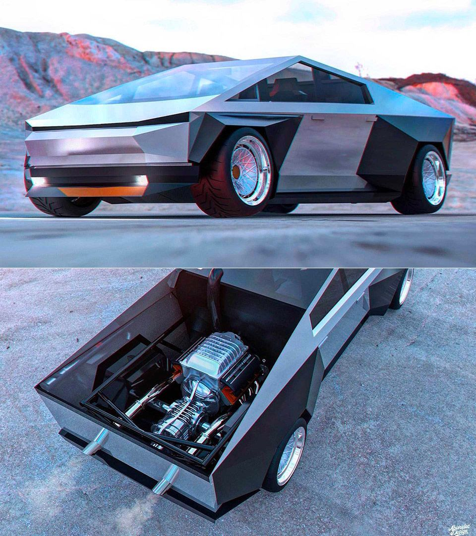 When Tesla Cybertruck Meets Dodge Charger Srt Hellcat This Is The Result Techeblog Carros Auto Cacas