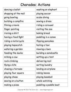 photo regarding Charades for Kids Printable titled Checklist of words and phrases for charades Game titles Performing game titles