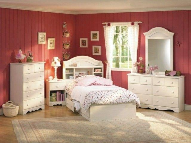 habitaciones juveniles pared rosa salmon original chica joven ...