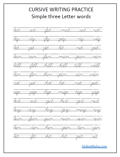Cursive Handwriting Worksheets Free Printable Onlinenisha Com In 2020 Cursive Handwriting Worksheets Learning Cursive Cursive Writing Worksheets