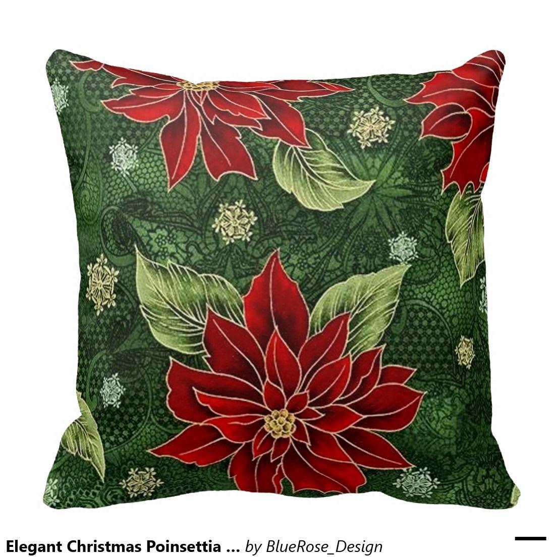Elegant christmas poinsettia throw pillow christmas poinsettia