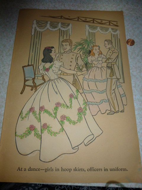 page from a rare 1940 gone with the wind coloring book a