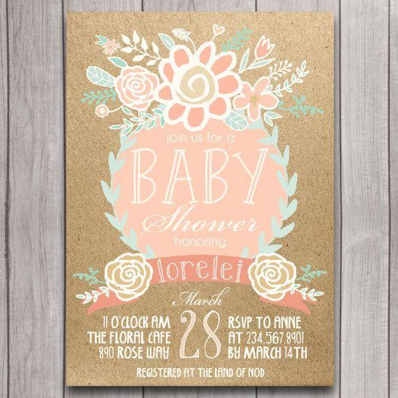 Boho Baby Shower Invitation Printable Coral Mint Gold Floral