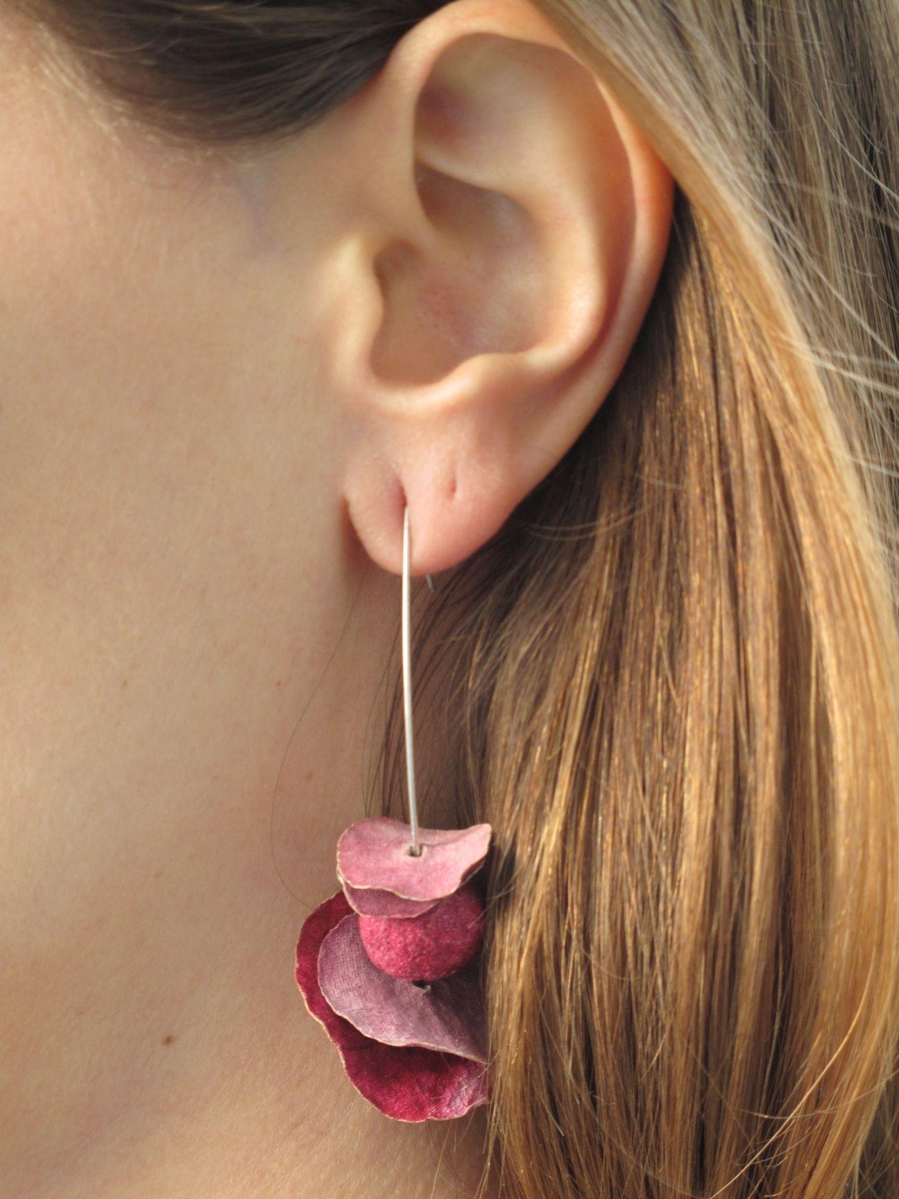 Pink Paper Mache Earings Paper Jewelry Paper Earrings Paper Beads