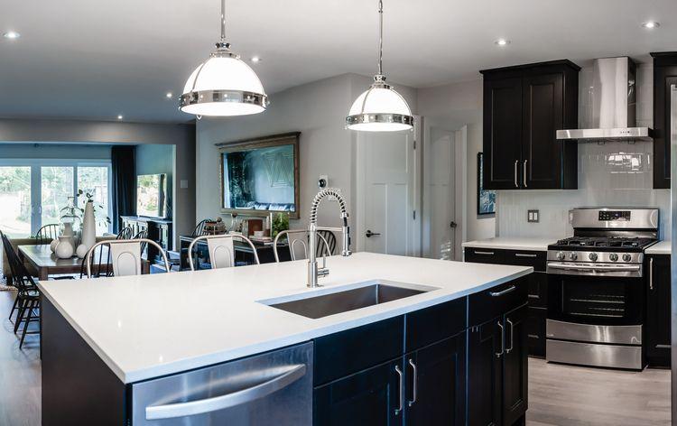 Kitchen remodel; island; stove; oven; sink; cabinetry; dining room| Interior Designer: Matt Tsang