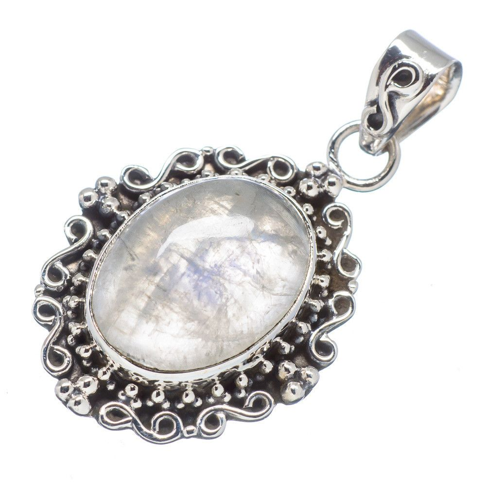 "Rainbow Moonstone 925 Sterling Silver Pendant 1 1/2"" PD512148"