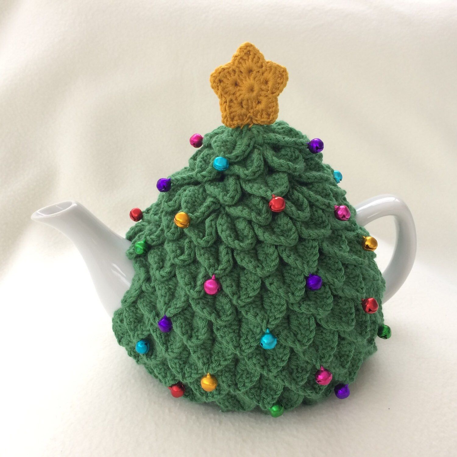 Another Version Of My Christmas Tree Tea Cosy This Time In A Pine Green Colour With A Darker Yellow Star In 2020 Knitted Tea Cosies Crochet Tea Cozy Tea Cosy Crochet