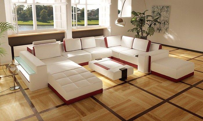 Costa Rico Contemporary Leather Living Room Sofa Set