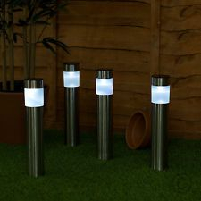 Perfect 4 X Solar Powered Colour Changing LED Brushed Chrome Garden Bollard Post  Lights