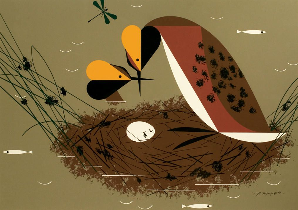 nesting grebes, by Charley Harper -   Counting the Wings