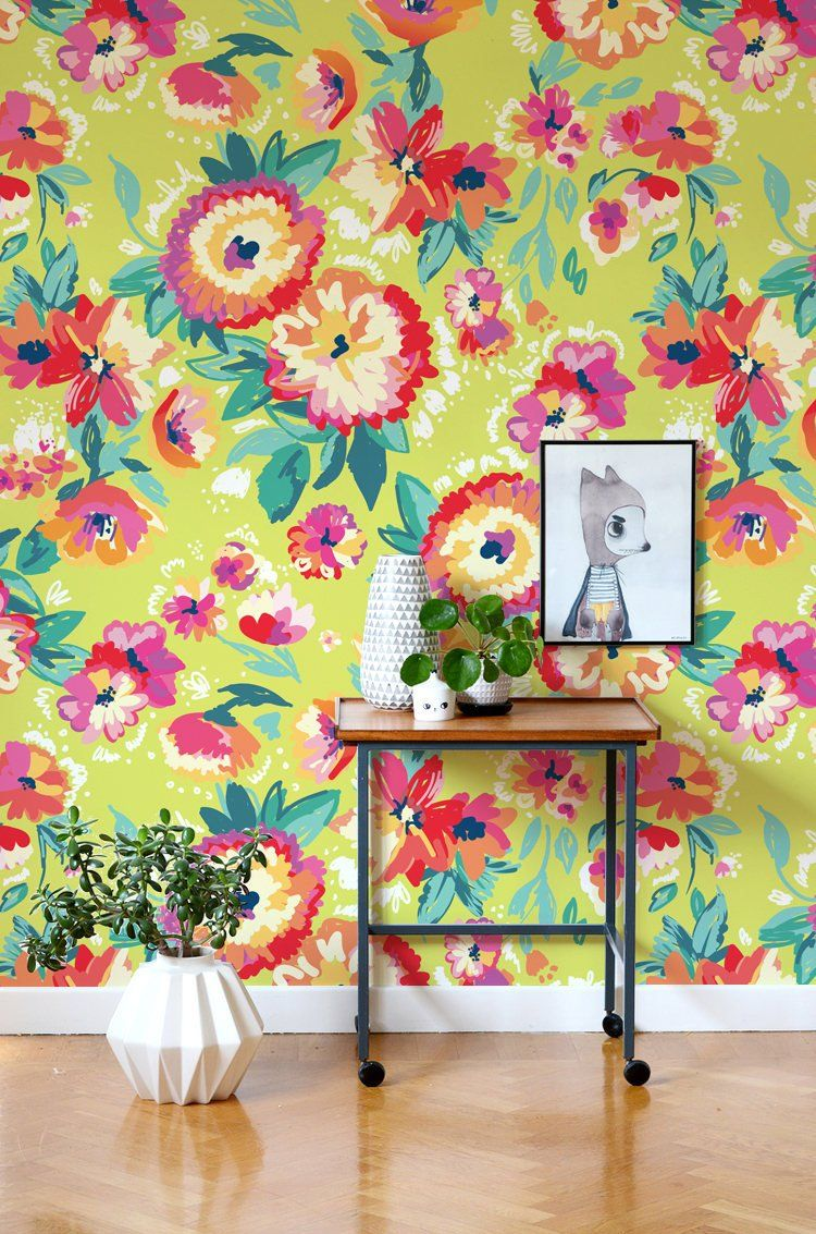 Bright Floral Wallpaper Meadow Wallpaper Wall Decal Etsy Flower Mural Floral Wallpaper Floral Wallpaper Bedroom