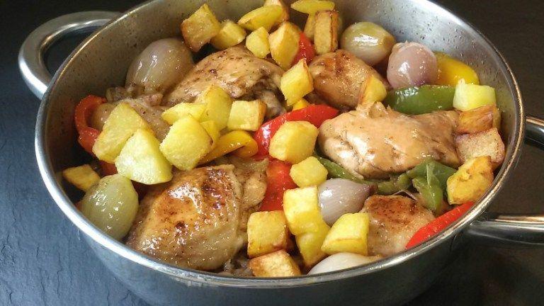 cazuela de pollo con pimientos