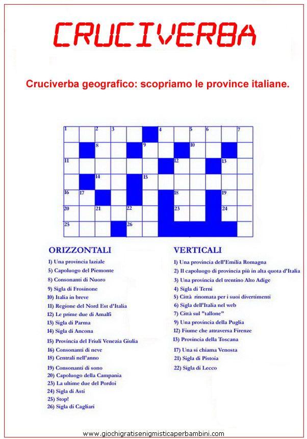 Cruciverba sulle province italiane cruciverba pinterest for Cruciverba natalizio da stampare