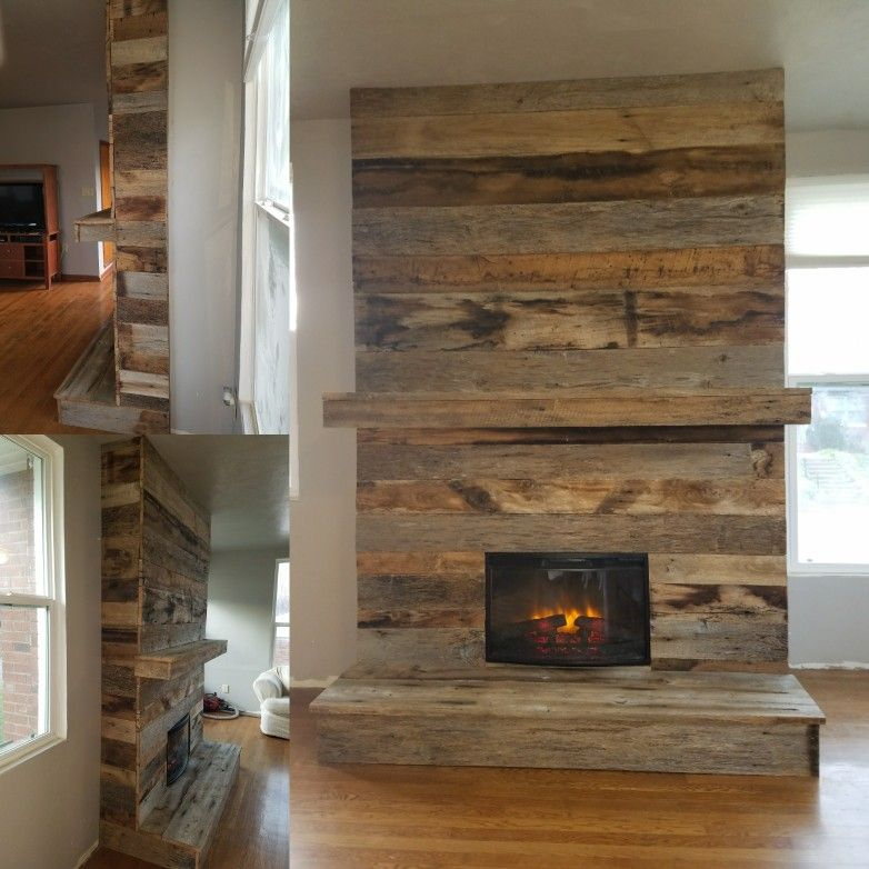 Reclaimed Barnwood Fireplace My Dad And I Built Fireplace In 2019