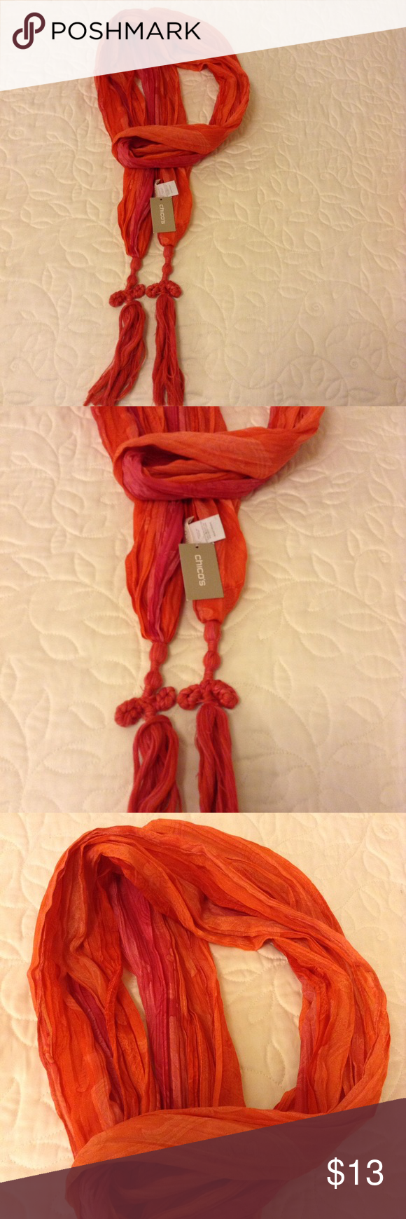 Brand New Chico's Scarf Made in India, vivid colors, never been used. Chico's Accessories Scarves & Wraps