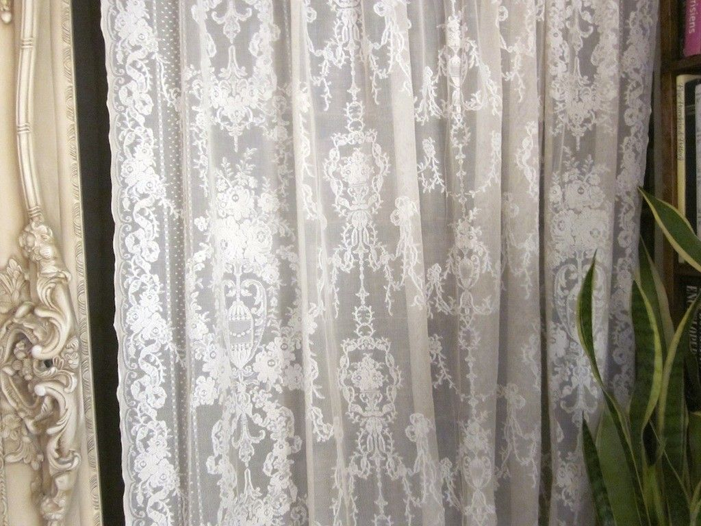 French curtain panels - 92 Inch French Lace Curtains Lydia Antique Style Ivory Cotton Madras Lace Curtain Panel